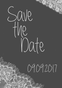 Save the Date Spitze grauweiss