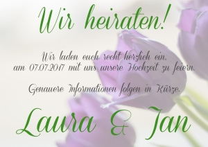 Save the date lila Tulpe back